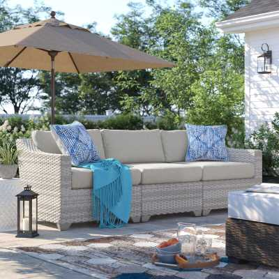 Waterbury Wicker Patio Sofa with Cushions - Wayfair