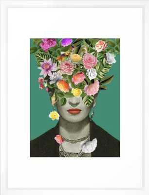 "Frida Floral Framed Art Print - VectorWhite, 20x26"", by Desireefeldmann - Society6"