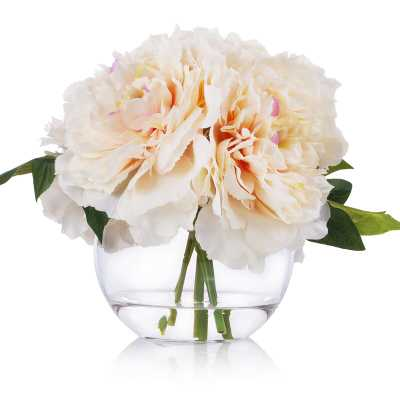 Nearly Natural 36 in. Indoor Peony and Berries Artificial Arrangement in Large Cylinder Vase - Home Depot