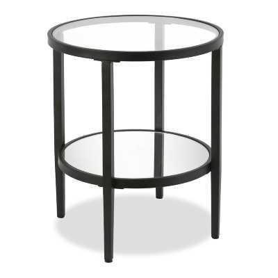 Abington Glass Top End Table with Storage - Blackened Bronze - Wayfair