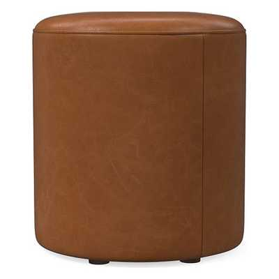 Isla Small Ottoman, Poly, Ludlow Leather, Mace, Concealed Supports - West Elm