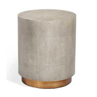 Interlude Kenzo Modern Grey Shagreen Brass Drum Side End Table - Large - Perigold