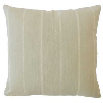 "Tailored Stripe Pillow, Dove, 20"" x 20"" - Havenly Essentials"