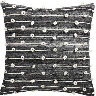 "20"" MARGAUX DARK GREY FRENCH KNOT PILLOW WITH DOWN-ALTERNATIVE INSERT - CB2"