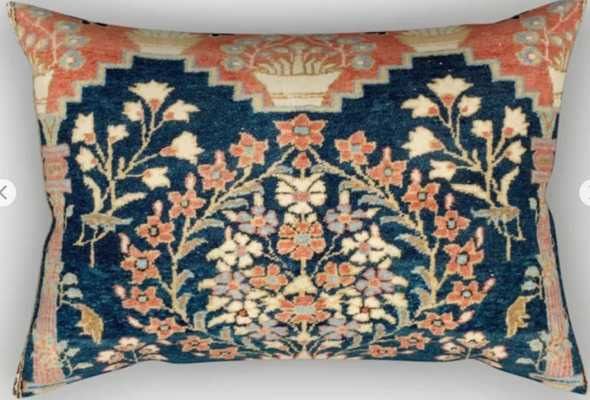 Kashan Poshti Antique Central Persian Rug Print Rectangular Pillow - Society6