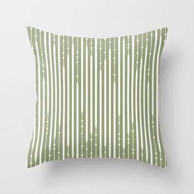 Line Art, Sage Green, Geometric, Boho Wall Art Throw Pillow - Society6
