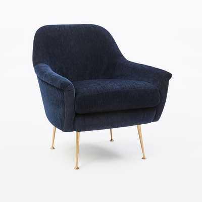 Phoebe Chair, Distressed Velvet, Ink Blue - West Elm