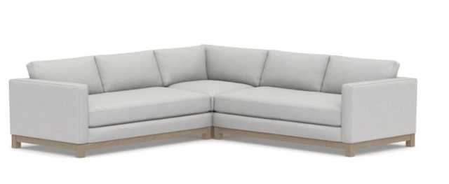 Jake Upholstered 3-Piece L-Shaped Corner Sectional with Wood Legs, Polyester Wrapped Cushions, Park Weave Ash - Pottery Barn