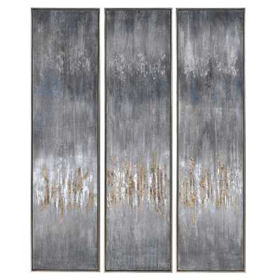 GRAY SHOWERS HAND PAINTED CANVASES, S/3 - Hudsonhill Foundry