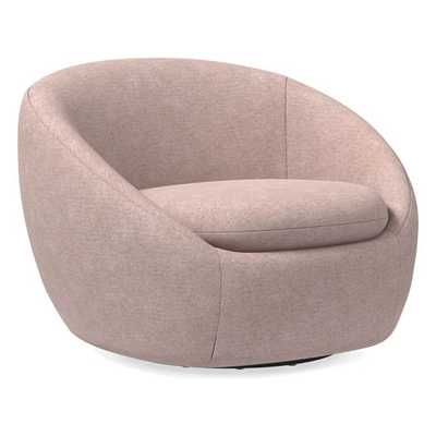 Cozy Swivel Chair, Distressed Velvet, Light Pink - West Elm