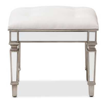 BAXTON STUDIO MARIELLE HOLLYWOOD REGENCY GLAMOUR STYLE OFF WHITE FABRIC UPHOLSTERED MIRRORED OTTOMAN VANITY BENCH - Lark Interiors