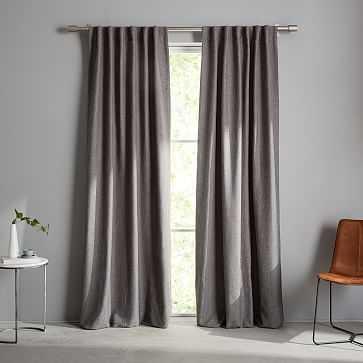 "Crossweave Curtain + Blackout Panel, Charcoal, 48""X108"" - West Elm"