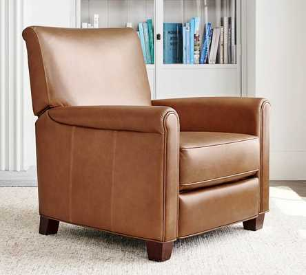 Irving Roll Arm Leather Power Recliner, Polyester Wrapped Cushions, Vintage Caramel - Pottery Barn