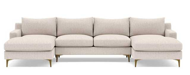 Sloan U-Sectional with Beige Wheat Fabric, double down blend cushions, and Brass Plated legs - Interior Define
