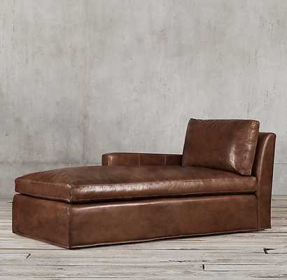 BELGIAN TRACK ARM LEATHER LEFT-ARM CHAISE-Truffle - RH