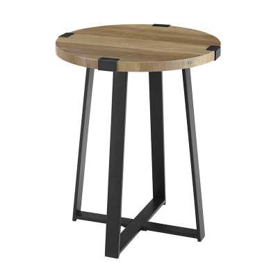 Enrique Cross Legs End Table, Rustic Oak - Wayfair