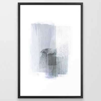 Blue Grey Minimalist Abstract Painting Framed Art Print by GalleryJ9 - Society6