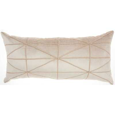 Velvet Geometric Lumbar Pillow Beige - Wayfair