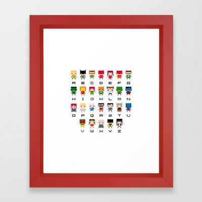 Superhero Alphabet Framed Art Print - Society6