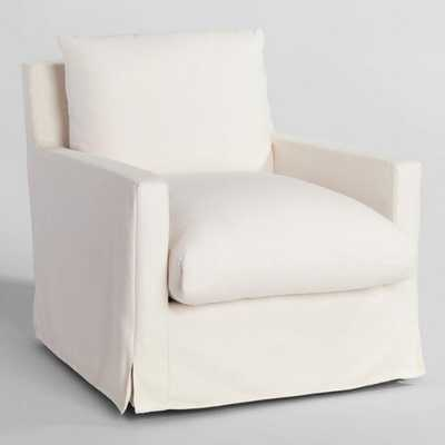 Ivory Feather Filled Swivel Brynn Armchair - World Market/Cost Plus