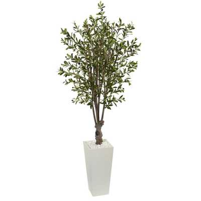 6' Olive Artificial Tree in White Tower Planter - Fiddle + Bloom