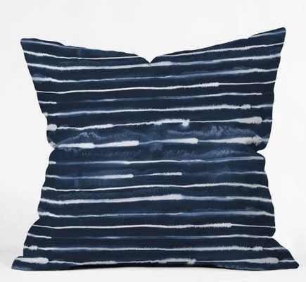 "Navy ink stripes pillow / 20"" x 20"" / Poly insert - Wander Print Co."