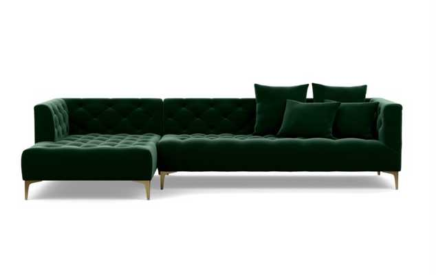 "MS. CHESTERFIELD Sectional Sofa with Left Chaise - 114"" Brass Plated Sloan L Leg - Interior Define"