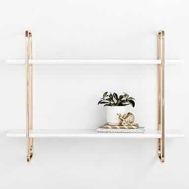 Metallic Trim Wall Bookcase, Gold/Simply White - Pottery Barn Teen