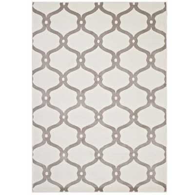 BELTARA CHAIN LINK TRANSITIONAL TRELLIS 5X8 AREA RUG IN BEIGE AND IVORY - Modway Furniture