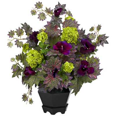 """Purple Morning Glory and Hydrangea 23""""W Potted Faux Flowers - Lamps Plus"""