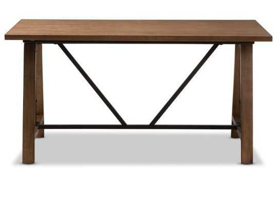 Baxton Studio Nico Metal and Distressed Wood Adjustable Height Work Table - Hayneedle