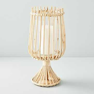 Rattan + Glass Hurricane, Large - West Elm