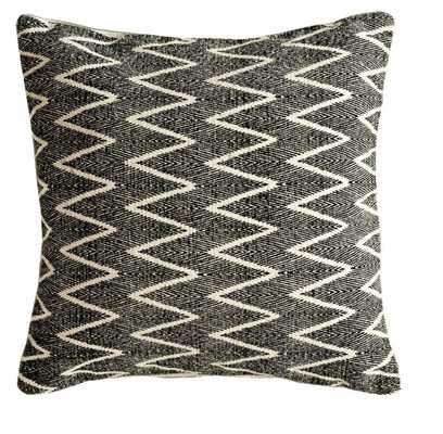 Cotton Pillow w/ Chevron Print in Natural & Black design by BD Edition - Burke Decor