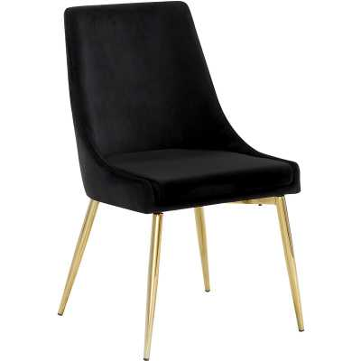 Paluch Upholstered Dining Chair (set of 2) - Black, Gold - Wayfair