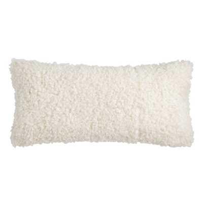 Oversized Ivory Curly Mongolian Faux Fur Lumbar Pillow - World Market/Cost Plus