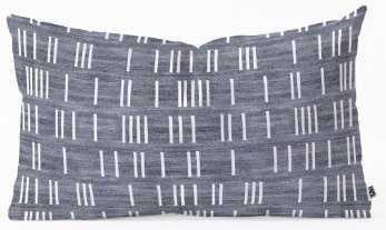 "BOGO DENIM MUDCLOTH LIGHT Oblong Throw Pillow - 23"" x 14"" - Wander Print Co."