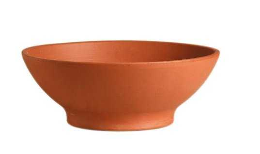 12 in. Terra Cotta Clay Low Bowl - Home Depot