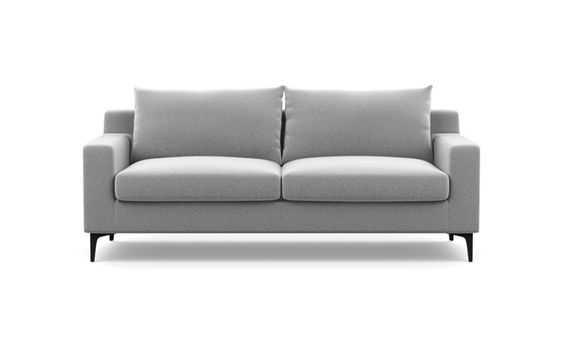 Sloan Sofa with Ash Fabric, Matte Black legs, - Interior Define