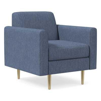 Olive Standard Back Mailbox Arm Chair, Poly, Performance Coastal Linen, Midnight, Antique Brass - West Elm