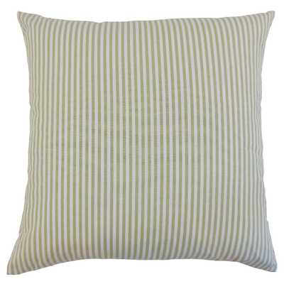 "Classic Stripe Pillow, Sage, 12"" x 18"" Lumbar - Havenly Essentials"