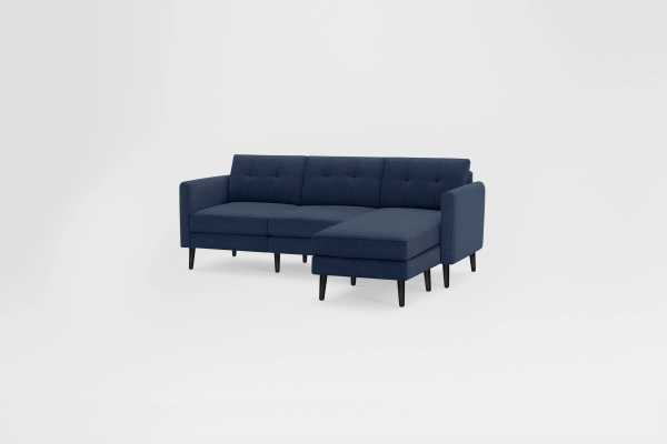 The Arch Nomad Sectional Sofa in Navy Blue, Ebony Legs - Burrow