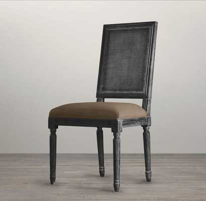 Vintage French Square Cane Back Fabric Side Chair - RH