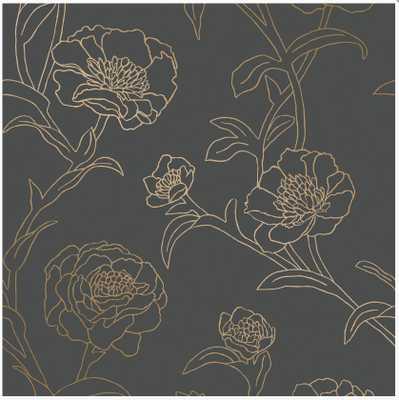 PEONIES - NOIR (PE508) Removable Wallpaper - Walnut Wallpaper