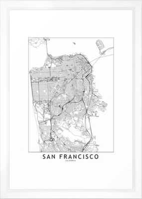 San Francisco White Map Framed Art Print - Society6