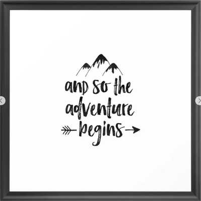 "And So The Adventure Begins Sign,Adventure Awaits,Adventure Nursery,Kids Room Decor,Quote Posters,Pr Framed Art Print, 22"" X 22"" - Society6"