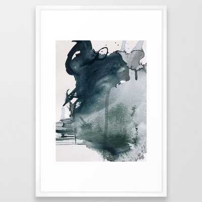 Lakeside: a minimal, abstract, watercolor and ink piece in shades of blue and green Framed Art Print - 26'' x 38''- VECTOR WHITE FRAME - Society6