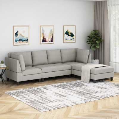 Hollin Reversible Sectional with Ottoman , Beige - Wayfair