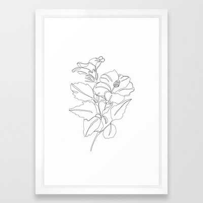 Floral one line drawing - Hibiscus Framed Art Print by Thecolourstudy - Vector White - 15x21 - Society6