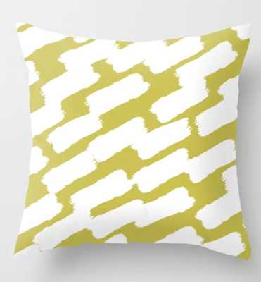 Brushstrokes - Green & White Throw Pillow - Society6