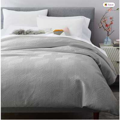 Modern Geo Duvet, Queen, Stone Gray - West Elm